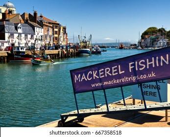 Mackerel fishing boat moored at quay, Weymouth, June 2017, editorial