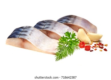 Mackerel with herbs garlic and spices, isolated on white background