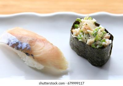 mackerel nigiri and crab gunkan maki