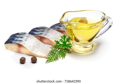 Mackerel with oil and herbs, isolated on white background