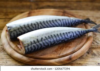 Mackerel on a wooden board