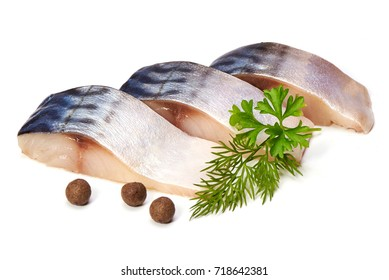 Mackerel with peppers and herbs, isolated on white background