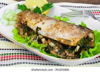 Mackerel Stuffed with Celery and Parsley in a Sauce of Coconut Milk, Oyster and Soy Sauce