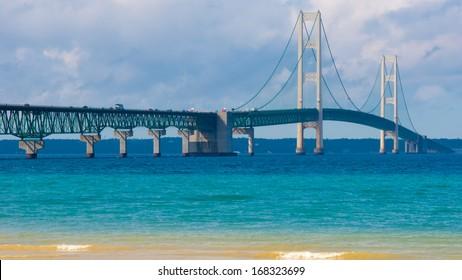 "Mackinac Bridge, a.k.a.""Big Mac"" and ""Mighty Mac"", Colonial Michilimackinac Park, Michigan"