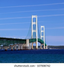 Mackinac Bridge, built between 1954 and 1957 is the longest suspension bridge between cable anchors in the World.
