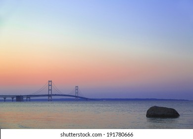 Mackinac Bridge at dusk
