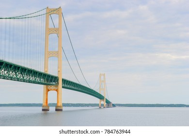 The Mackinac Bridge heading towards the Upper Peninsula in Michigan