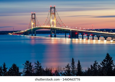 Mackinac Bridge Night Lights, St. Ignace MIchigan