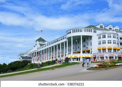 MACKINAC ISLAND, MI - JULY, 2016 :  The famous Grand Hotel is the largest and most historic hotel on the island.