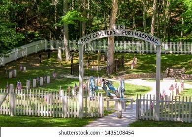 Mackinac Island, MI / USA - July 9th 2016: Historic Fort Mackinac cemetery on Mackinac Island Michigan
