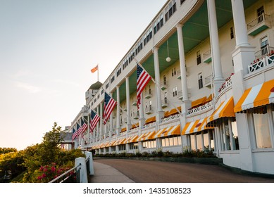 Mackinac Island, MI / USA - July 9th 2016: The amazing architecture of the Grand Hotel on Mackinac Island during the evening hours