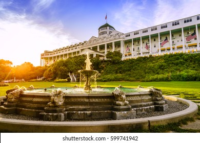 Mackinac Island, Michigan, August 8, 2016: Grand Hotel on Mackinac Island, Michigan. The hotel was built in 1887 and designated as a State Historical Building.