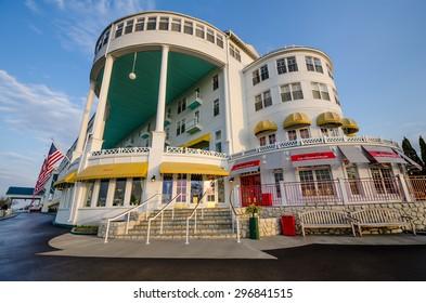 MACKINAC ISLAND, MICHIGAN - MAY 19, 2014: The Grand Hotel on Mackinac Island in Northern Michigan has been welcoming guests since 1887.