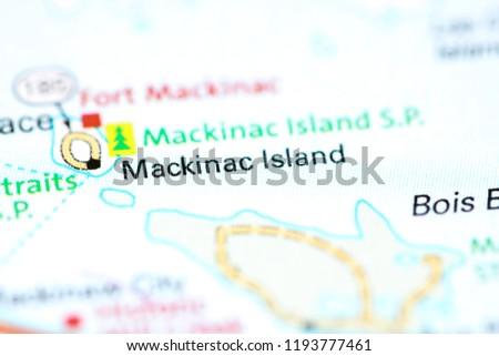 Mackinac Island Michigan Usa On Map Stock Photo Edit Now