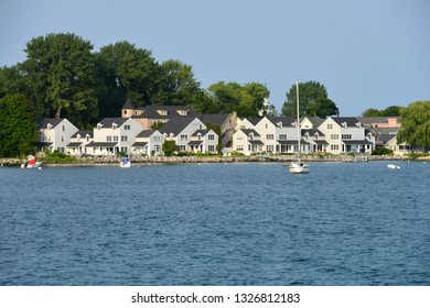 Mackinac Island, Michigan, USA,  View of the harbor and island from the lake.