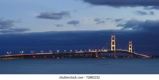 The Mackinaw Bridge, Between Michigan's Upper And Lower Peninsulas At Night, USA