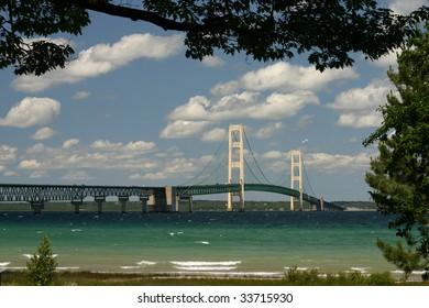 The Mackinaw Bridge connecting Michigan's Upper and Lower Peninsulas.