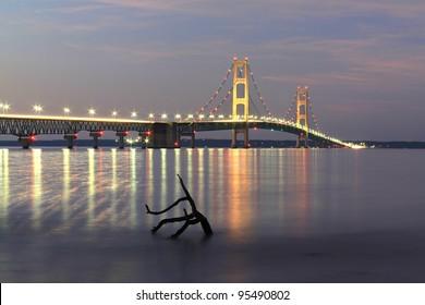 The Mackinaw Bridge connecting Michigan's upper and lower peninsula's.