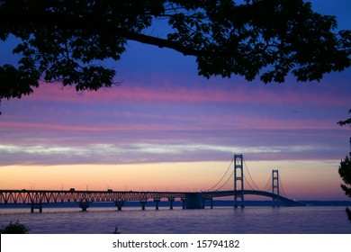 The Mackinaw Bridge connecting the Upper and Lower Peninsula's in Michigan.