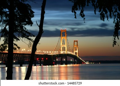 Mackinaw Bridge at dusk in Michigan.