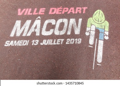 Macon, France - June 12, 2019: Start of Tour de France cycling in the city of Macon the 13rd of July. The Tour de France is an annual multiple stage bicycle race primarily held in France