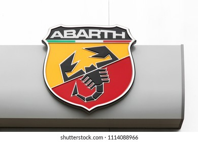 Macon, France - May 27, 2018: Abarth logo on a wall. Abarth is an Italian racing car and road car maker founded by Italo-Austrian Carlo Abarth in 1949