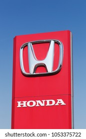 Macon, France - September 21, 2015: Honda logo on a panel. Honda is a Japanese public multinational corporation primarily known as a manufacturer of automobiles, motorcycles and power equipment