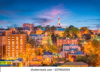 Macon, Georgia, USA downtown city skyline at dusk.