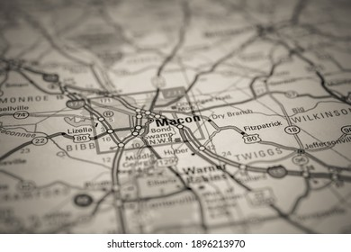 Macon on USA map background