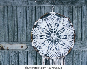 Macrame, mandala, dream catcher, shabby chic, copy space. Wedding or holiday background. selective focus and toned image
