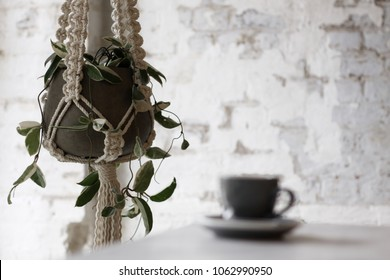 Macrame plant hanger against an exposed brick background with a coffee mug out of focus in the foreground.