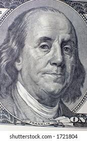 The macro of 100 dollars banknote