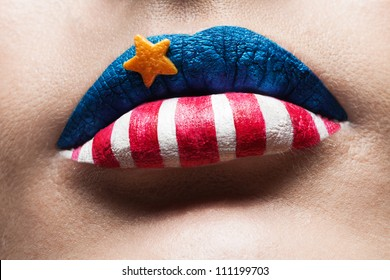 macro 4th july lips with american flag makeup on it