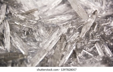 Macro background of natural menthol crystals, made of mint ingredient.  Ice, winter and  cold concept.