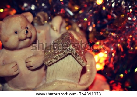 macro background texture desktop screensavers bear christmas new year small gift bag christmas tree gold glitter