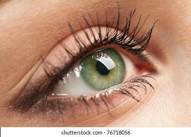 Macro of beautiful woman`s open green eye