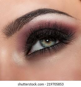 macro beautifully painted eyes, beautiful make-up