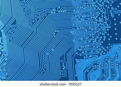 macro of blue circuit board