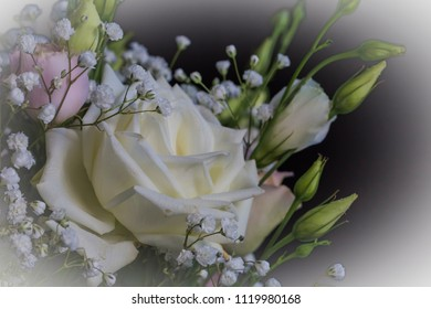 Macro of a bridal bouquet with roses