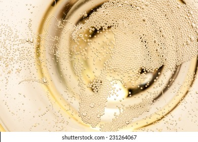 macro of champagne in a glass