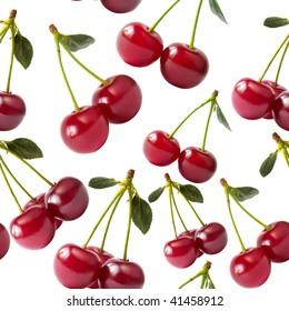 Macro Cherries Isolated Over White Background Seamless Wallpaper