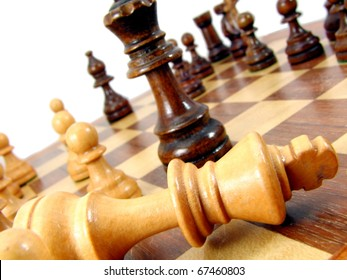 Macro Chess Pieces on board