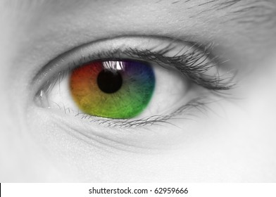 Macro of child's eye with rainbow colors