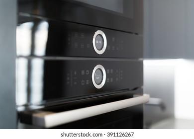 Macro Close Up of Digital Elegant Kitchen Oven
