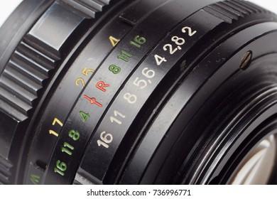 macro close up old camera lens