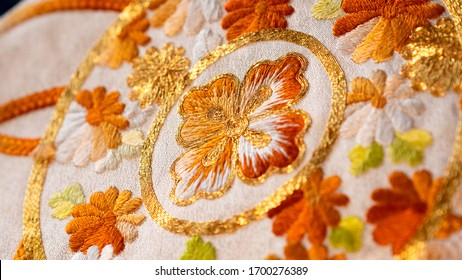 Macro close up on Japan traditional clothing kimono with beautiful embroidered pattern