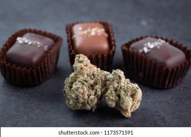 Macro close up on a marijuana buds with gourmet salted caramel pot edibles