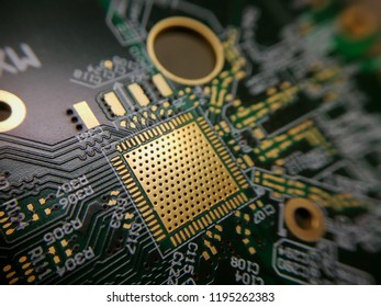 Macro close up of printed circuit board QFN quad flat no leads technology footprint