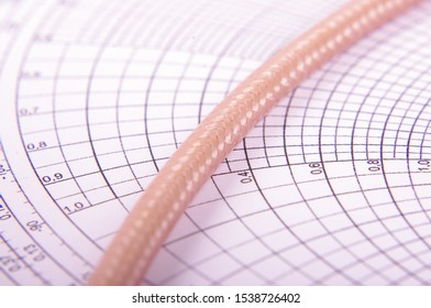 Macro close up of radio frequency coaxial 50 ohm cable shielding pattern