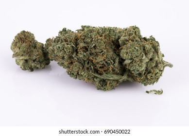 Macro Close up of Sativa marijuana bud on white background